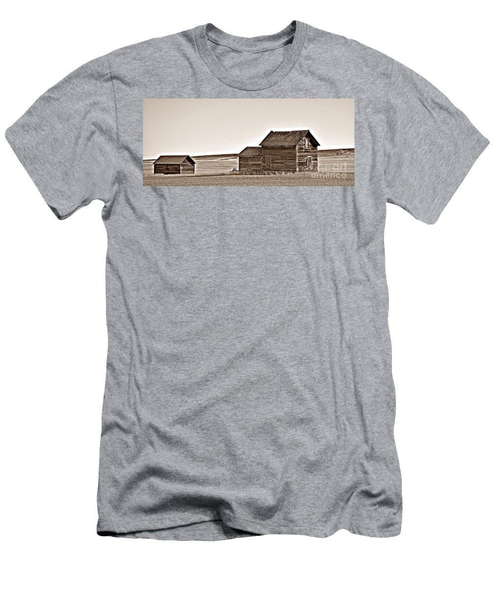 Plains Homestead Sepia Men's T-Shirt (Athletic Fit) featuring the photograph Plains Homestead Sepia by Chalet Roome-Rigdon