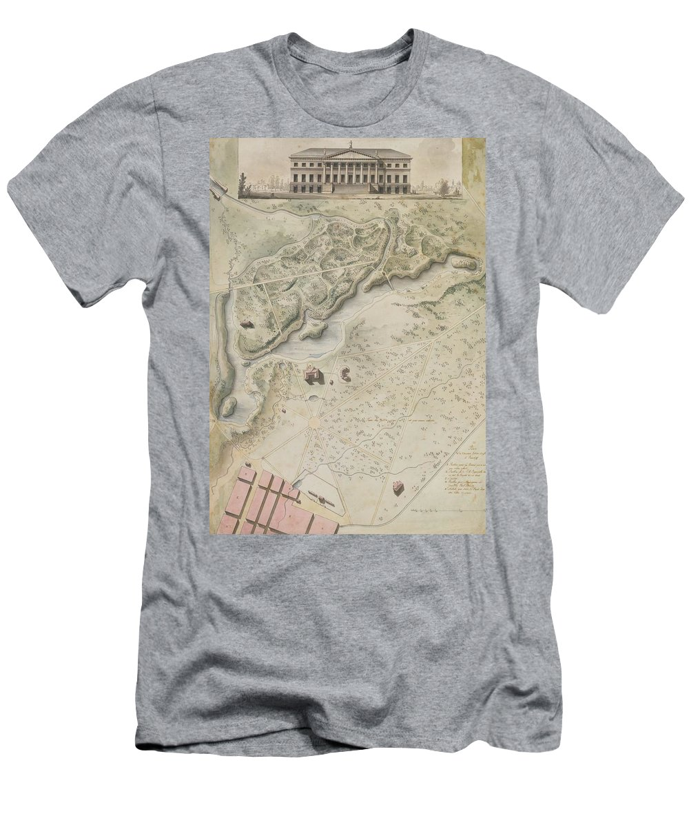 Giacomo Quarenghi Plan For The English Garden At Peterhof Men's T-Shirt (Athletic Fit) featuring the painting Plan For The English Garden At Peterhof by MotionAge Designs