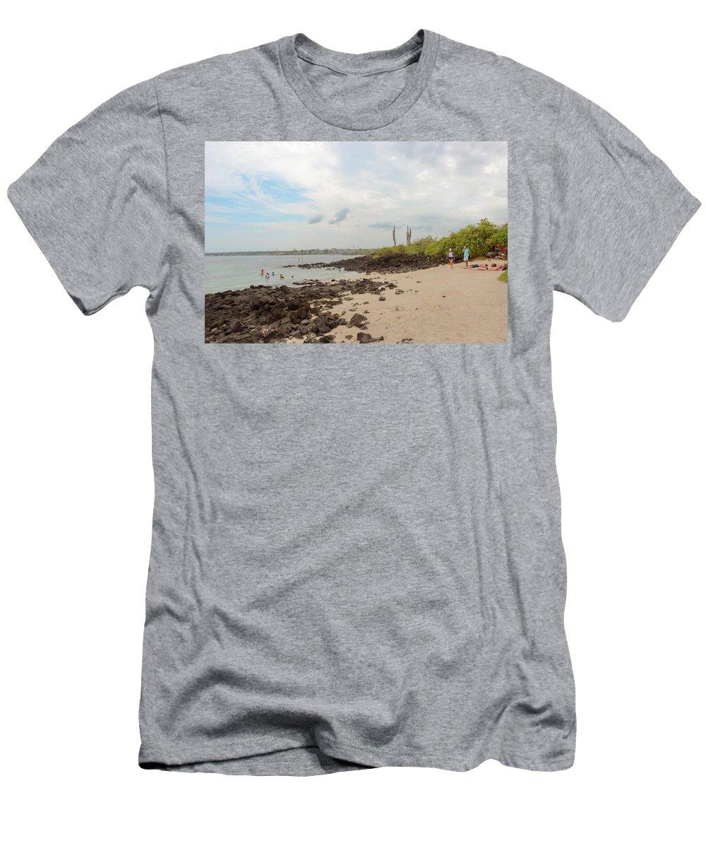 Sand Men's T-Shirt (Athletic Fit) featuring the photograph Playa De La Estacion On Santa Cruz Island In Galapagos by Marek Poplawski