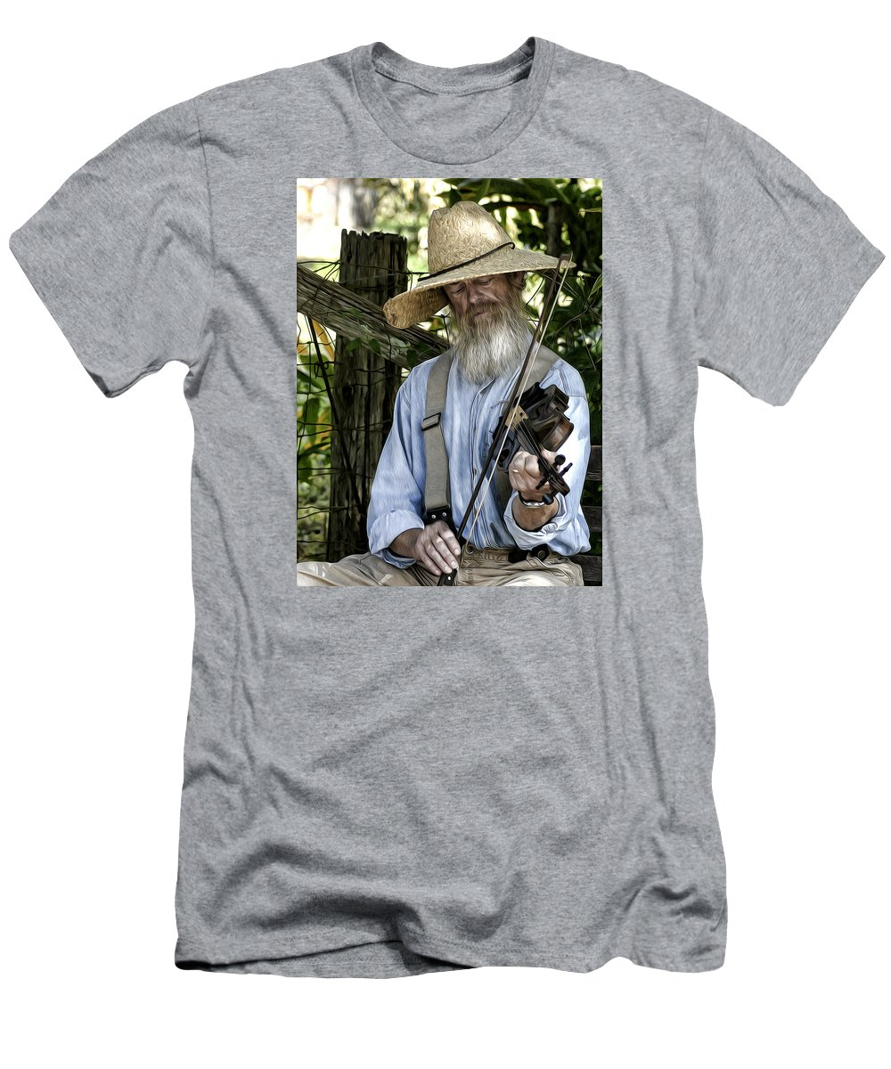 People Men's T-Shirt (Athletic Fit) featuring the photograph Playing The Fiddle by Bruce Bouley