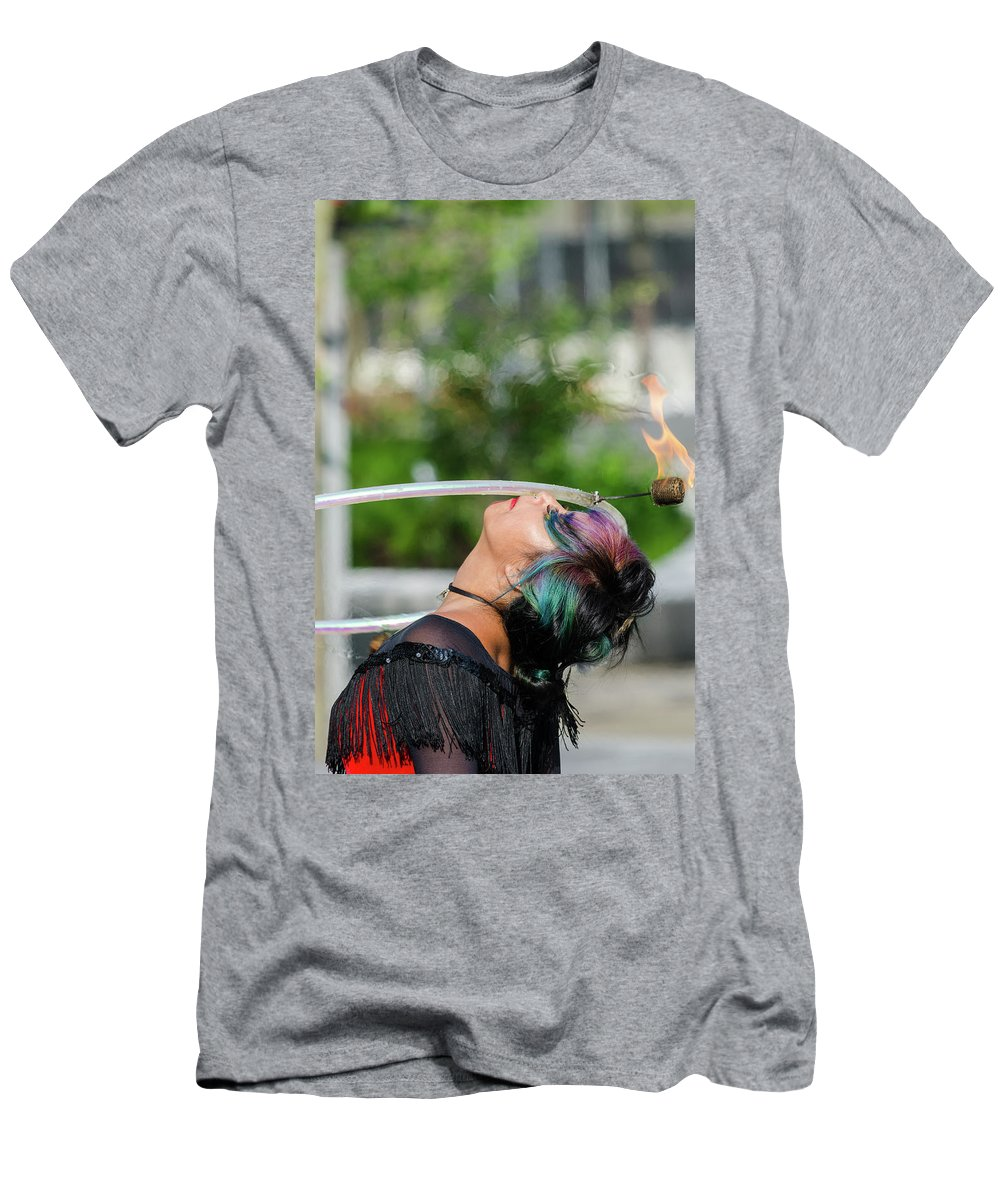 Cleveland Men's T-Shirt (Athletic Fit) featuring the photograph Playing With Fire by Stewart Helberg