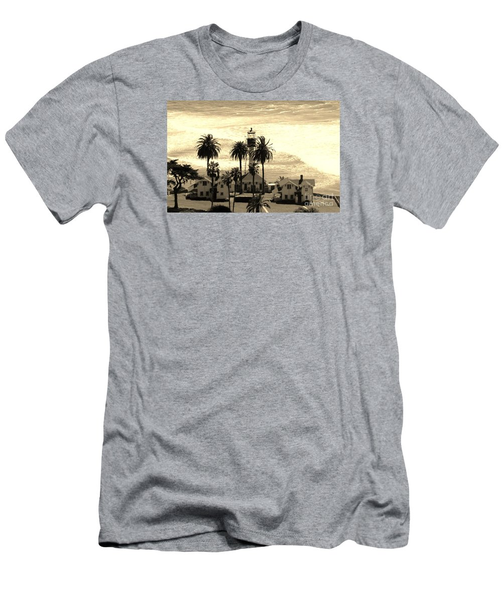 Lighthouse Men's T-Shirt (Athletic Fit) featuring the photograph Point Loma Lighthouse by Marta Robin Gaughen