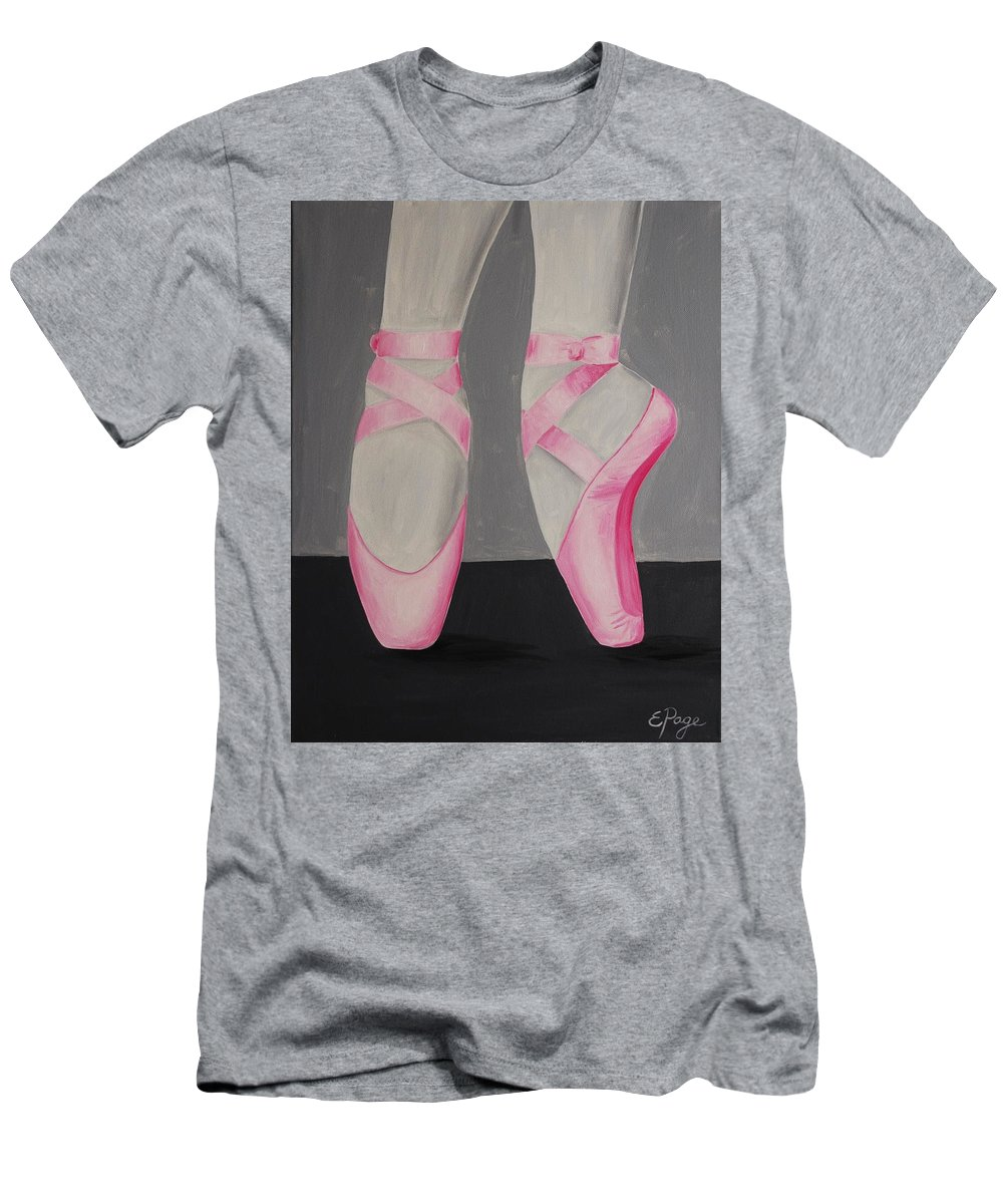 Pointe Shoes Men's T-Shirt (Athletic Fit) featuring the painting Pointe Shoes by Emily Page