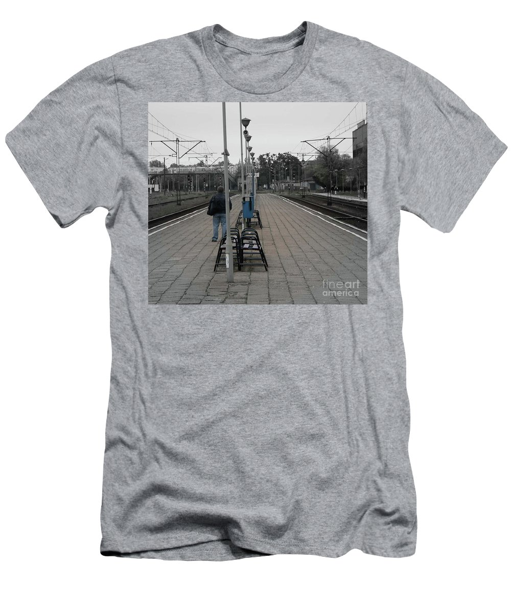Poland Men's T-Shirt (Athletic Fit) featuring the photograph Polish Train Station by Angela Wright