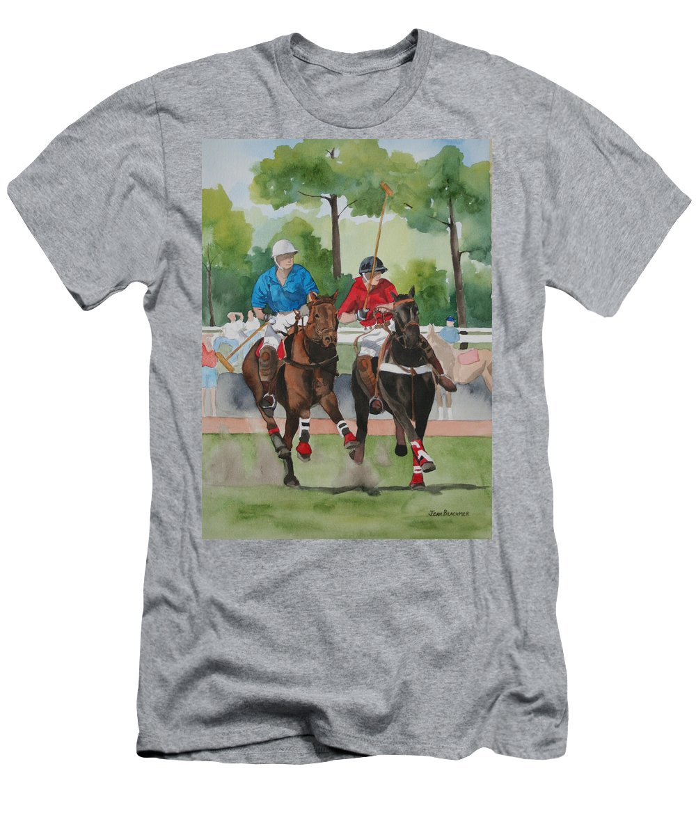 Polo Men's T-Shirt (Athletic Fit) featuring the painting Polo In The Afternoon 2 by Jean Blackmer