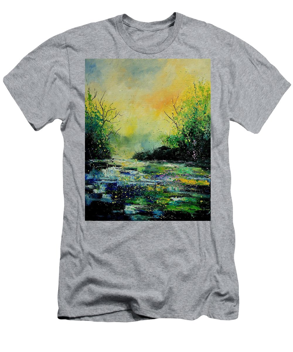 Water Men's T-Shirt (Athletic Fit) featuring the painting Pond 459060 by Pol Ledent