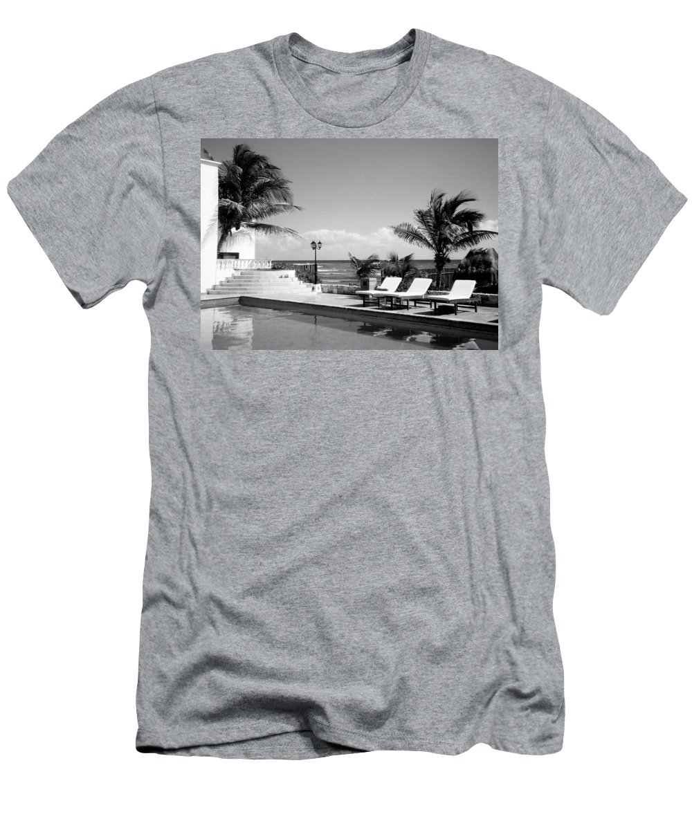 Swimming Pool Men's T-Shirt (Athletic Fit) featuring the photograph Poolside B-w by Anita Burgermeister