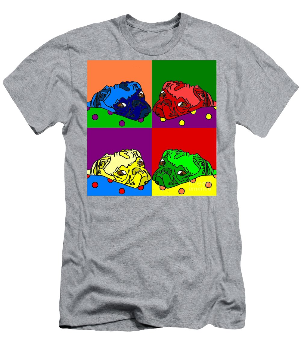 Men's T-Shirt (Athletic Fit) featuring the digital art Pop Art Pug by Purely Pugs Design