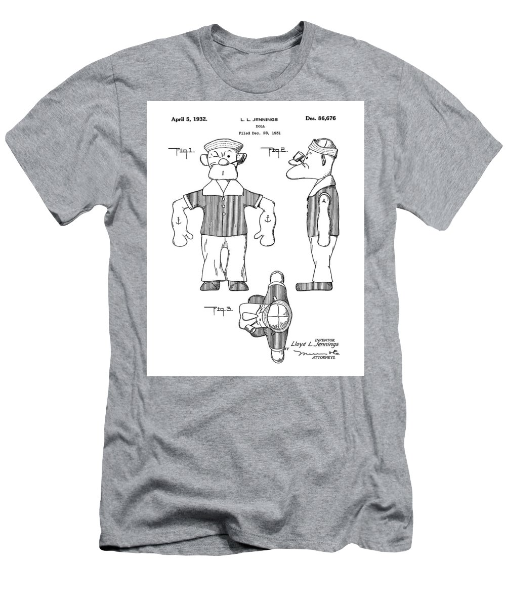 Popeye Men's T-Shirt (Athletic Fit) featuring the digital art Popeye Doll Patent 1932 by Bill Cannon