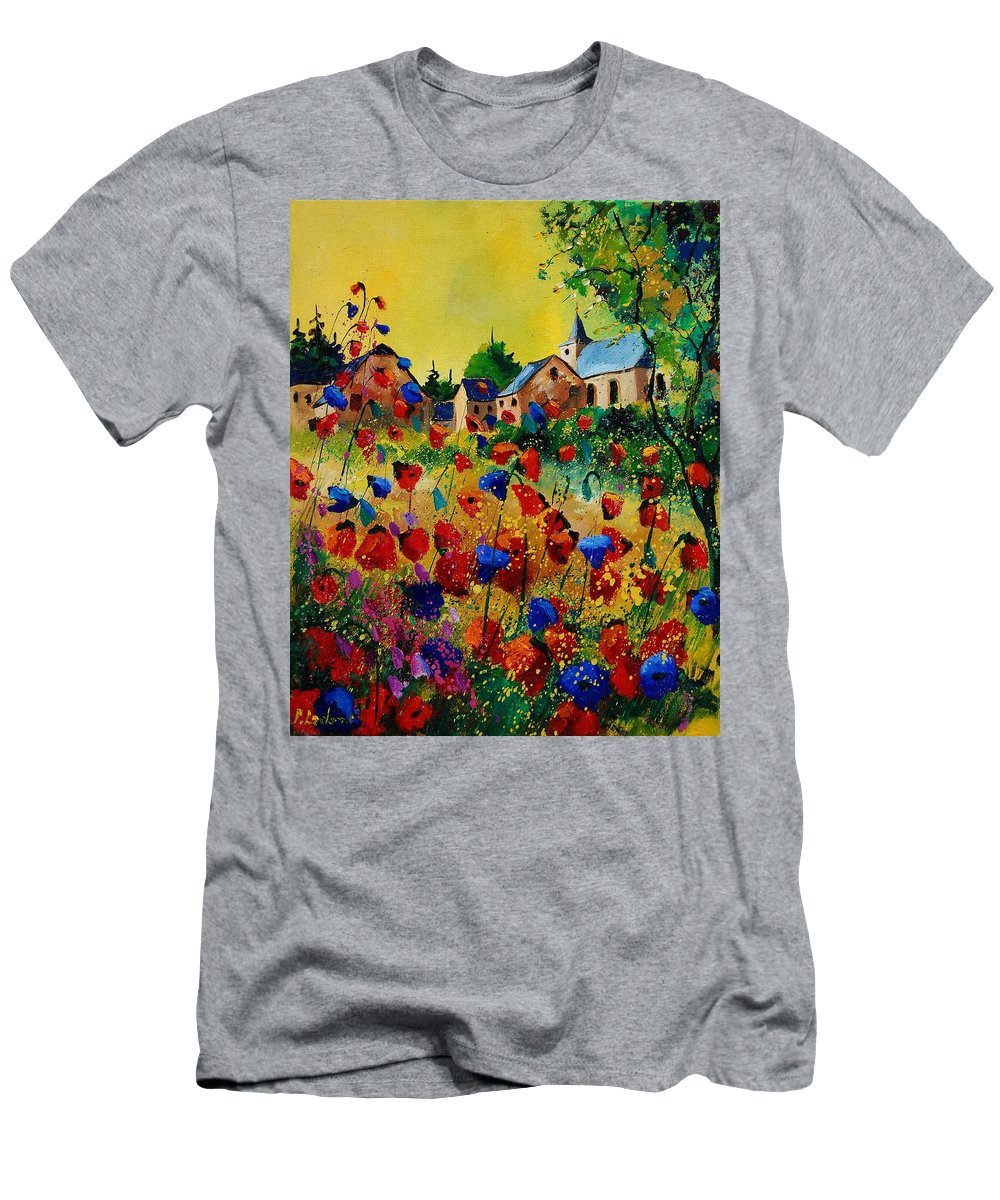 Flowers Men's T-Shirt (Athletic Fit) featuring the painting Poppies Sosoye by Pol Ledent