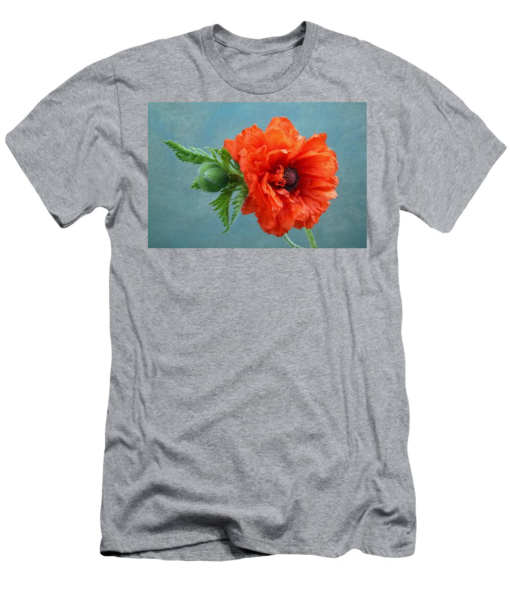 Poppy Men's T-Shirt (Athletic Fit) featuring the photograph Poppy Flower by Manfred Lutzius