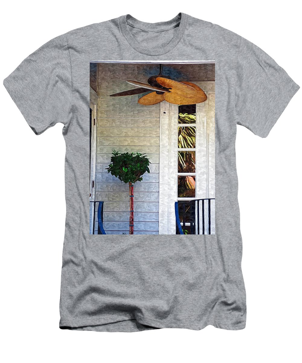 Fan Men's T-Shirt (Athletic Fit) featuring the photograph Porch Fan by Donna Bentley