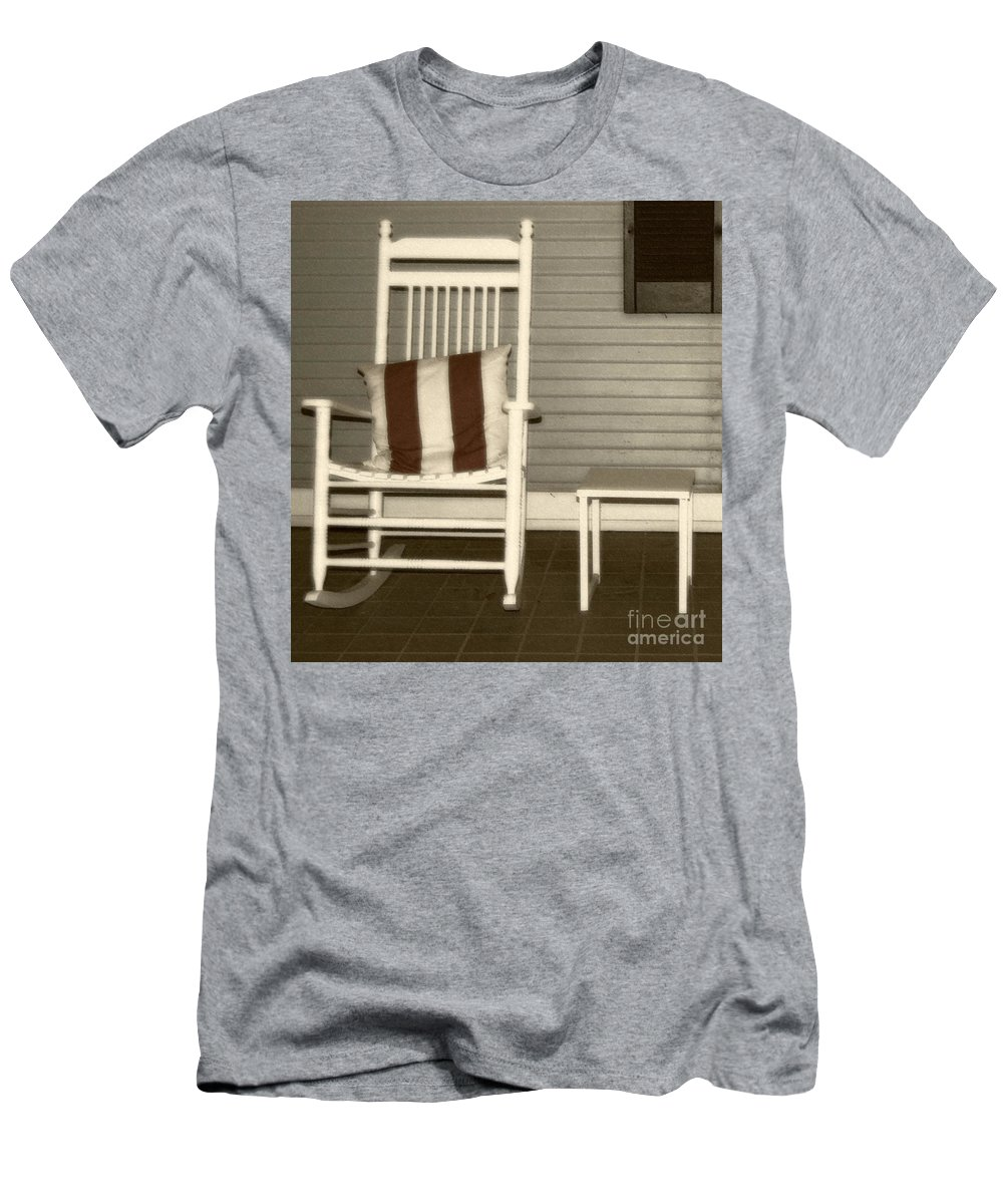 Rocking Chair Men's T-Shirt (Athletic Fit) featuring the photograph Porch Rocker by Debbi Granruth