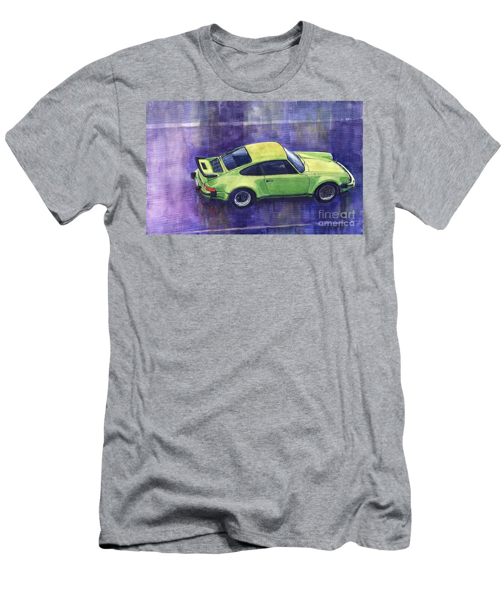 Watercolour Men's T-Shirt (Athletic Fit) featuring the painting Porsche 911 Turbo Green by Yuriy Shevchuk