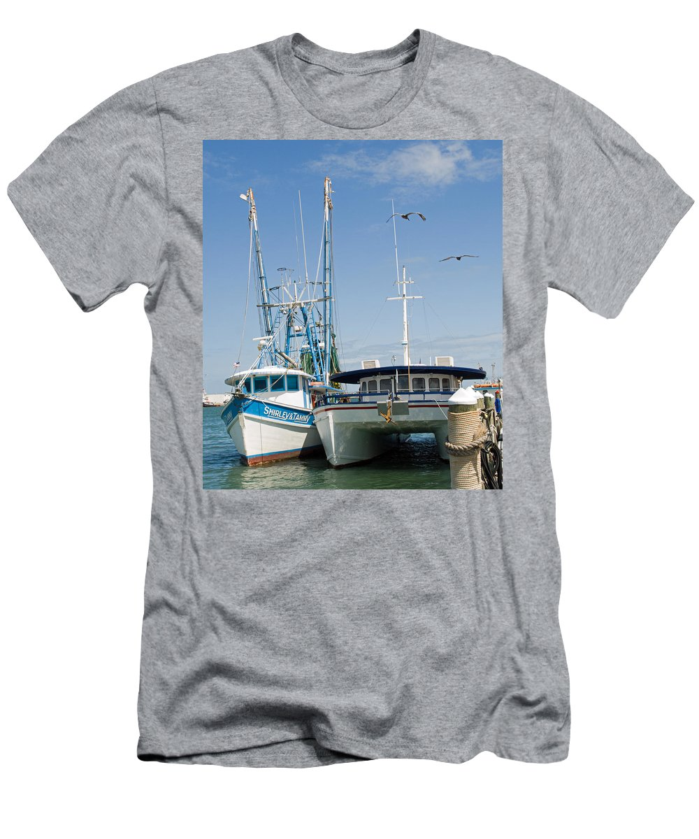 Florida; East; Coast; Atlantic; Ocean; Sea; Port; Canaberal; Harbor; Harbour; Boat; Shrimp; Party; C Men's T-Shirt (Athletic Fit) featuring the photograph Port Canaveral On The East Coast Of Florida by Allan Hughes