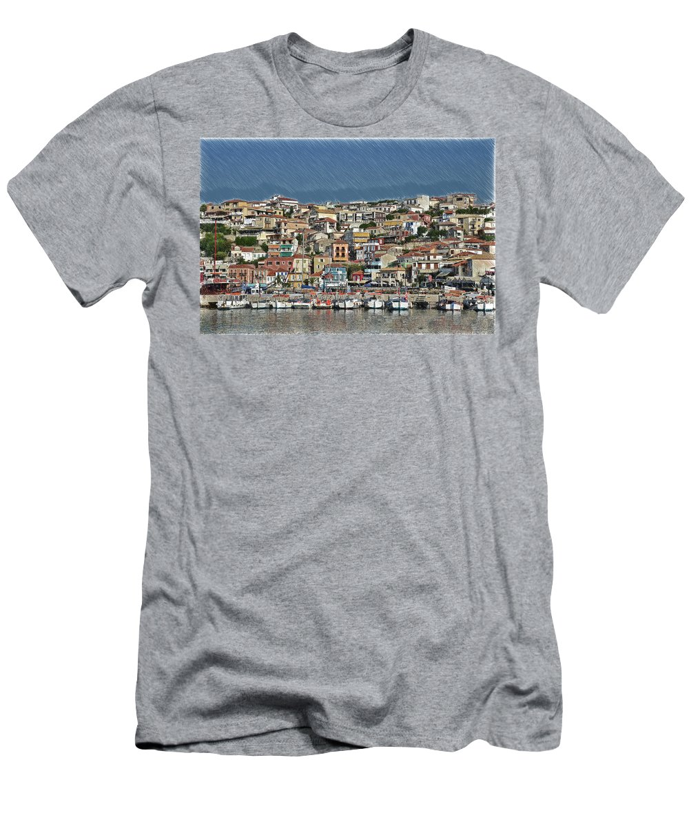 Parga Men's T-Shirt (Athletic Fit) featuring the painting Port City Parga Greece - Dwp1163344 by Dean Wittle