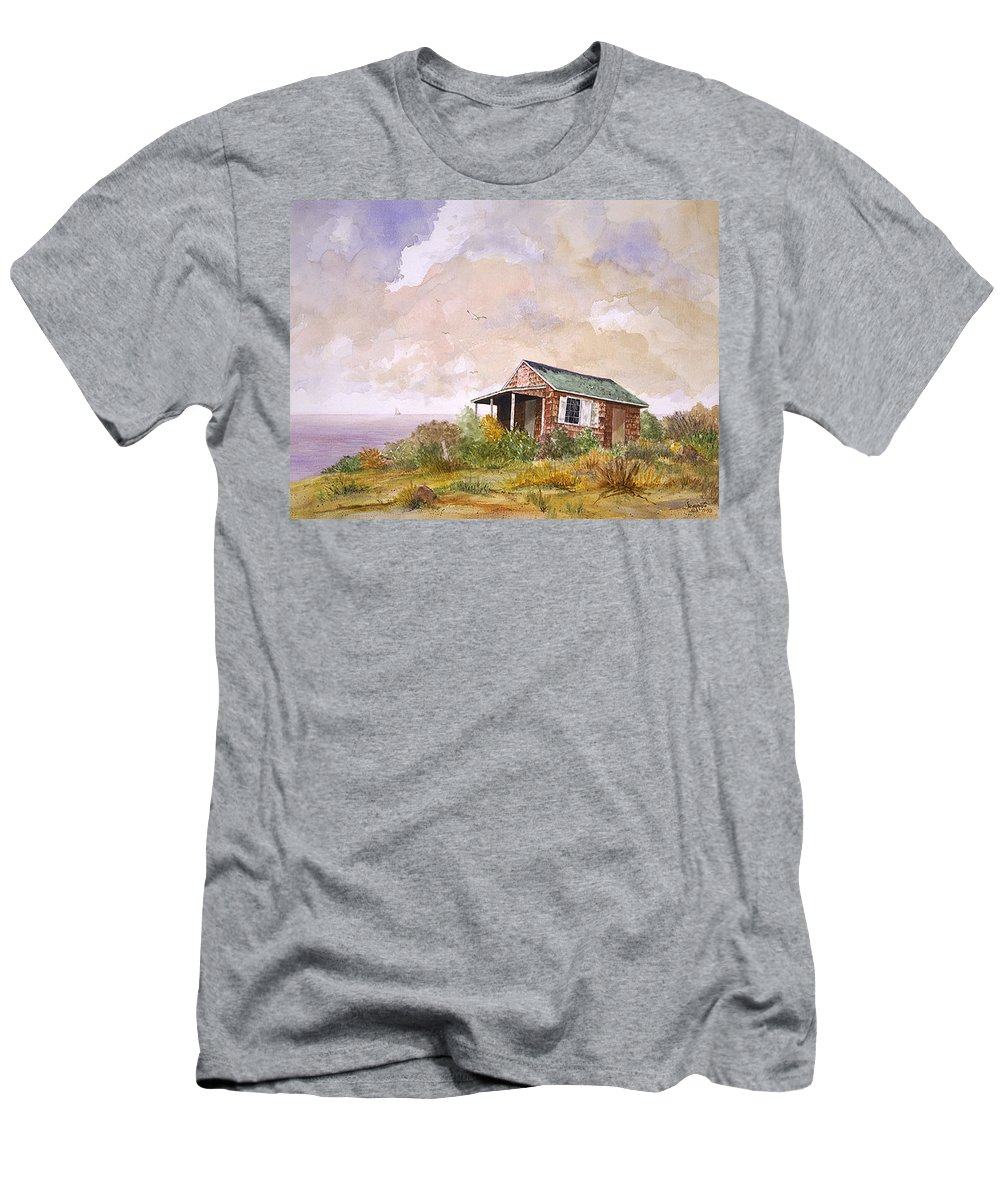 Men's T-Shirt (Athletic Fit) featuring the painting Port Of Egypt Shack by Tony Scarmato
