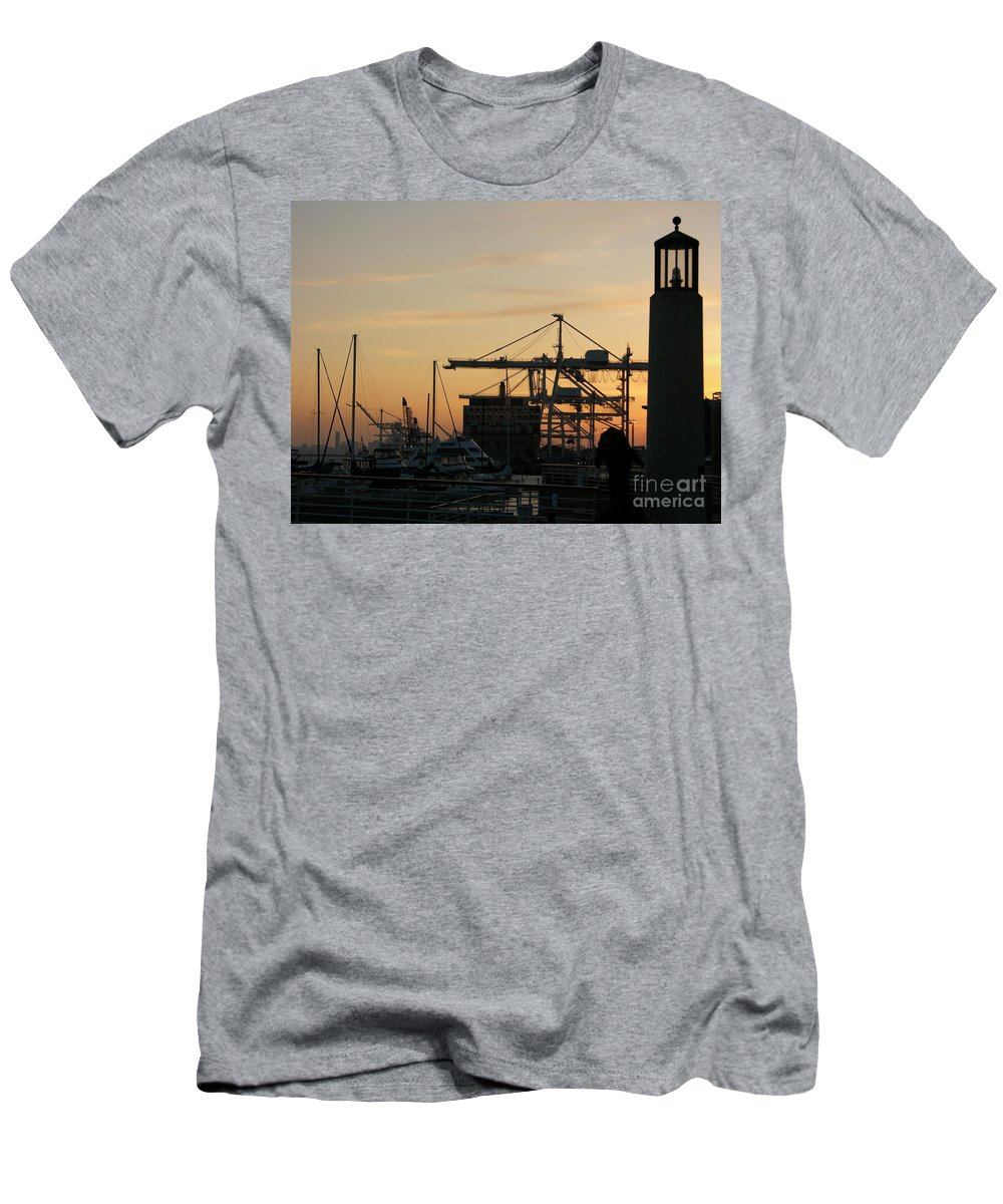 Oakland Men's T-Shirt (Athletic Fit) featuring the photograph Port Of Oakland Sunset by Carol Groenen