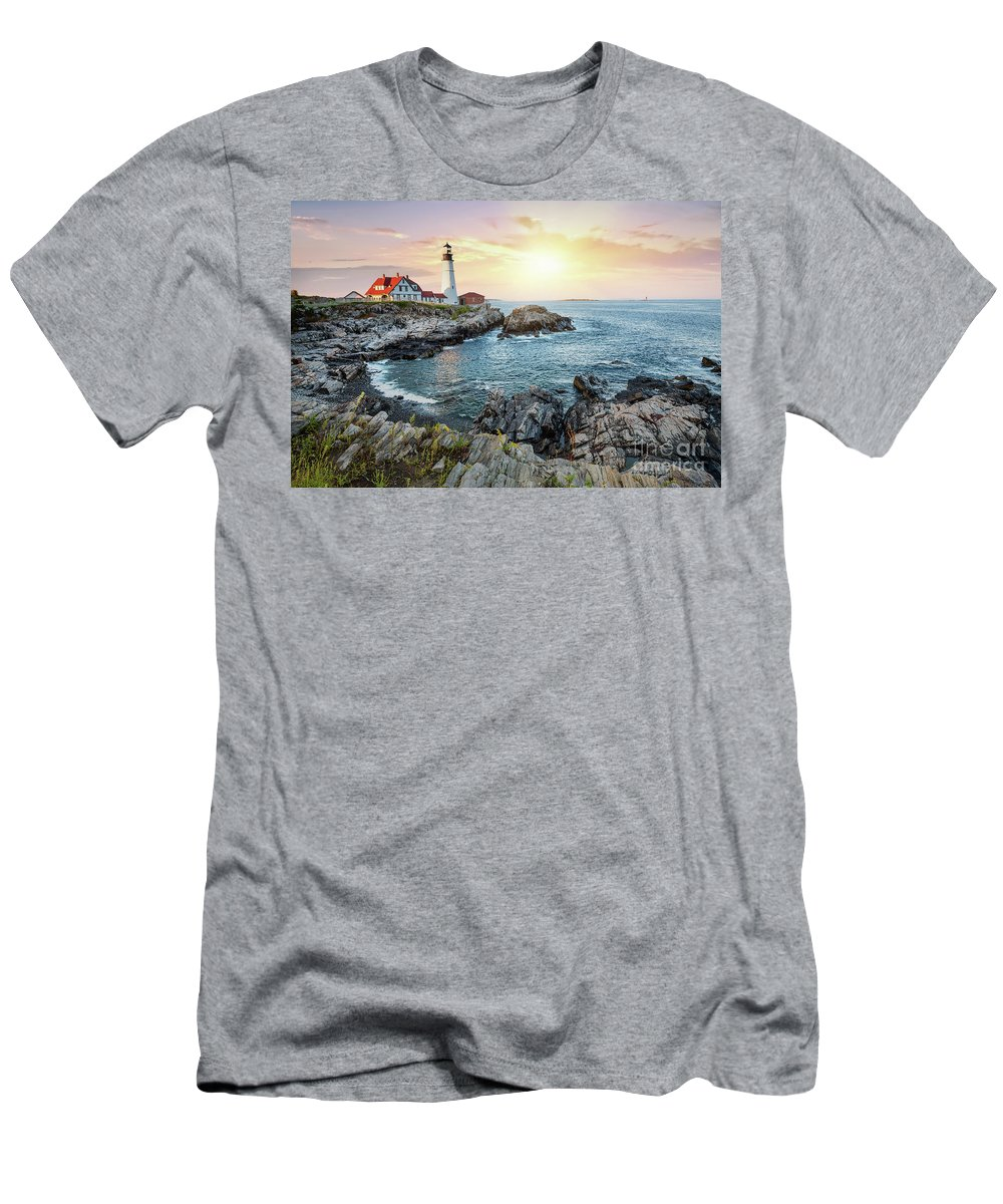 Portland Men's T-Shirt (Athletic Fit) featuring the photograph Portland Head Light At Dusk by Jane Rix