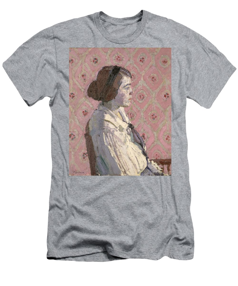 Portrait Men's T-Shirt (Athletic Fit) featuring the painting Portrait In Profile by Harold Gilman