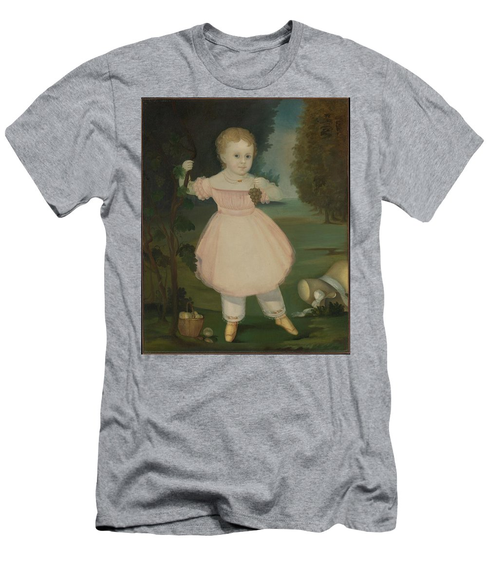 Portrait Of A Little Girl Picking Grapes Men's T-Shirt (Athletic Fit) featuring the painting Portrait Of A Little Girl Picking Grapes by MotionAge Designs
