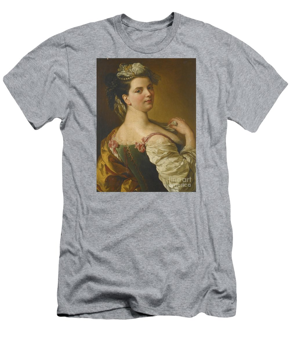 Pier Leone Ghezzi Portrait Of A Young Girl As A Shepherdess. .young Lady Men's T-Shirt (Athletic Fit) featuring the painting Portrait Of A Young Girl As A Shepherdess by MotionAge Designs
