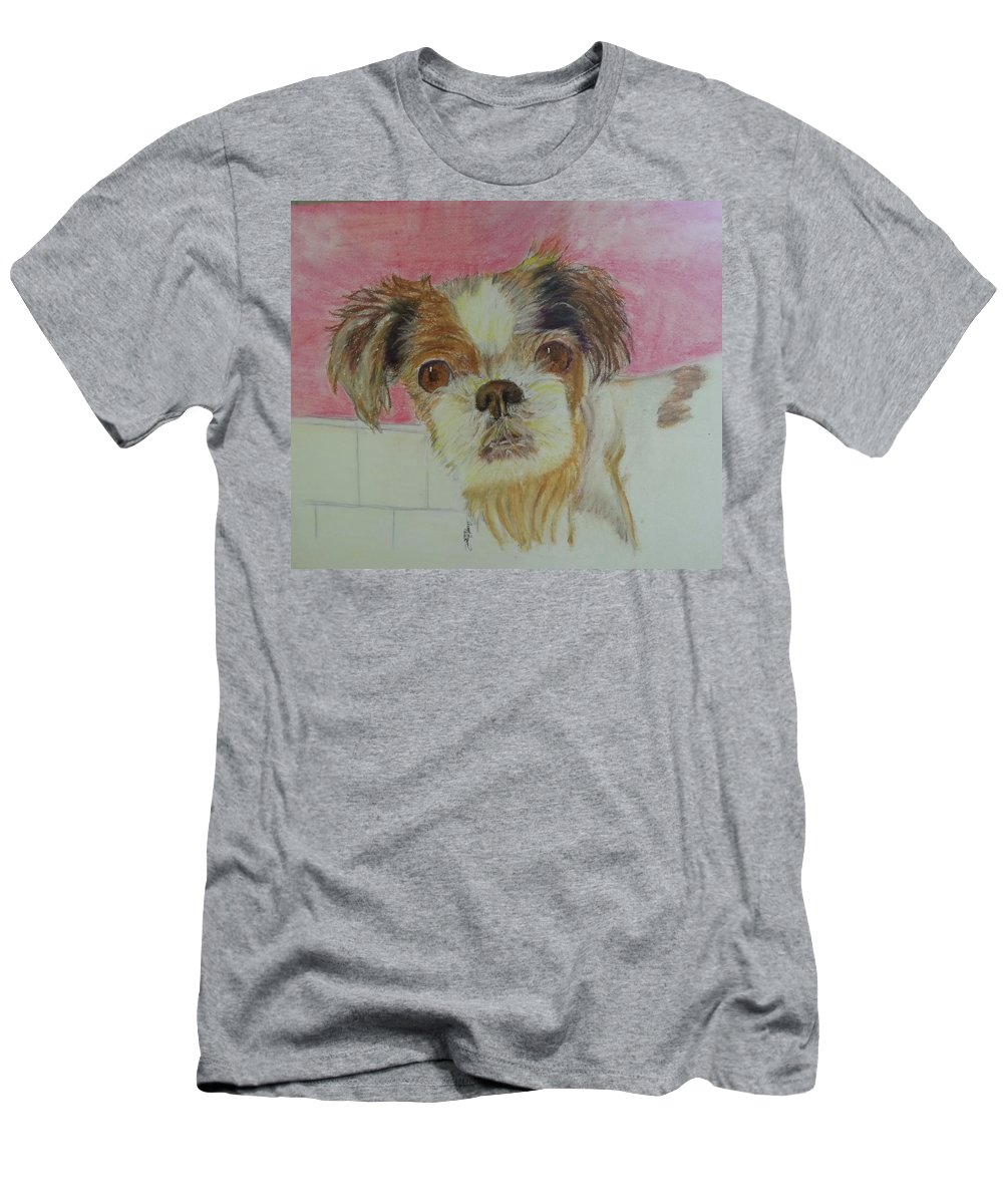 Dog Men's T-Shirt (Athletic Fit) featuring the painting Portrait Of Brandy by Angel Figueroa