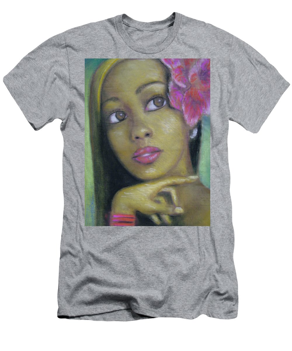 Drawing Men's T-Shirt (Athletic Fit) featuring the drawing Portrait Of Monica by Jan Gilmore