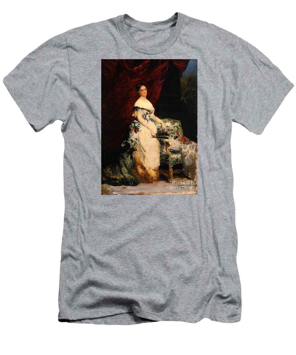 Portrait Of Princess Brancaccio-massimo Louis-edouard Dubufe (france Men's T-Shirt (Athletic Fit) featuring the painting Portrait Of Princess by MotionAge Designs