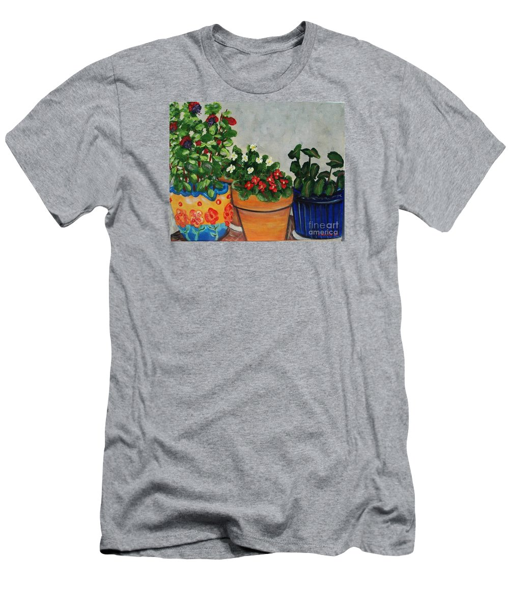Ceramic Pots T-Shirt featuring the painting Pots Showing Off by Laurie Morgan
