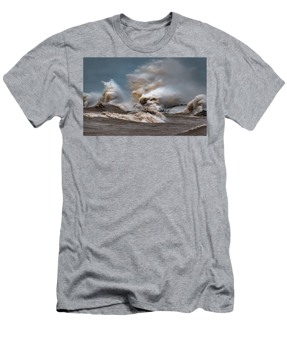 Lake Michigan Men's T-Shirt (Athletic Fit) featuring the photograph Power by Brad Bellisle