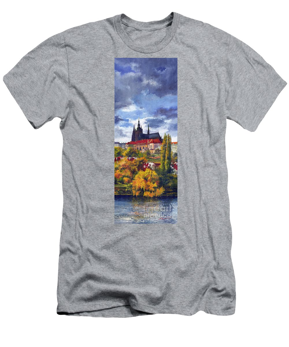 Prague Men's T-Shirt (Athletic Fit) featuring the painting Prague Castle With The Vltava River by Yuriy Shevchuk