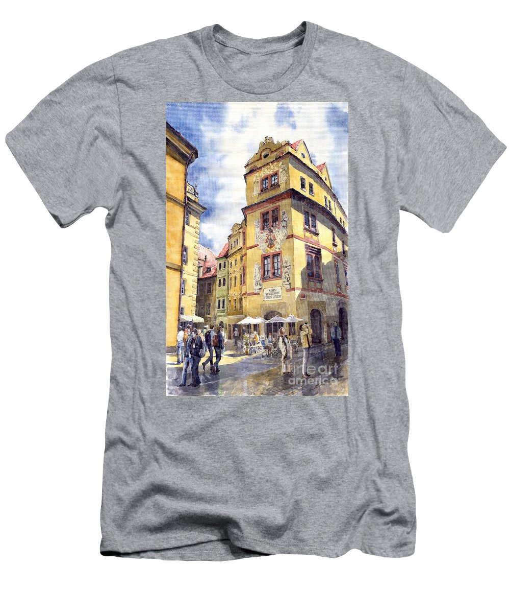 Architecture T-Shirt featuring the painting Prague Karlova Street Hotel U Zlate Studny by Yuriy Shevchuk