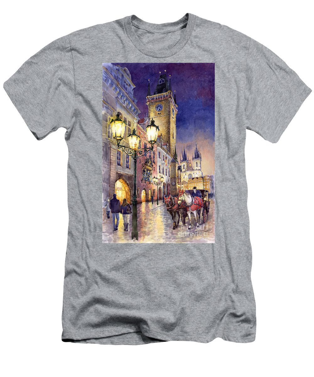 Cityscape T-Shirt featuring the painting Prague Old Town Square 3 by Yuriy Shevchuk