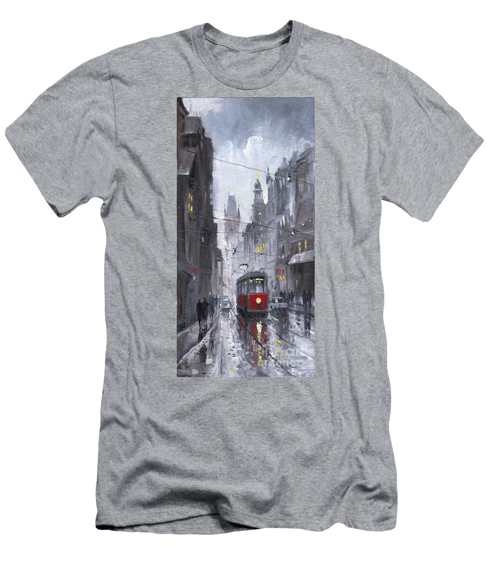 Oil On Canvas Men's T-Shirt (Athletic Fit) featuring the painting Prague Old Tram 03 by Yuriy Shevchuk