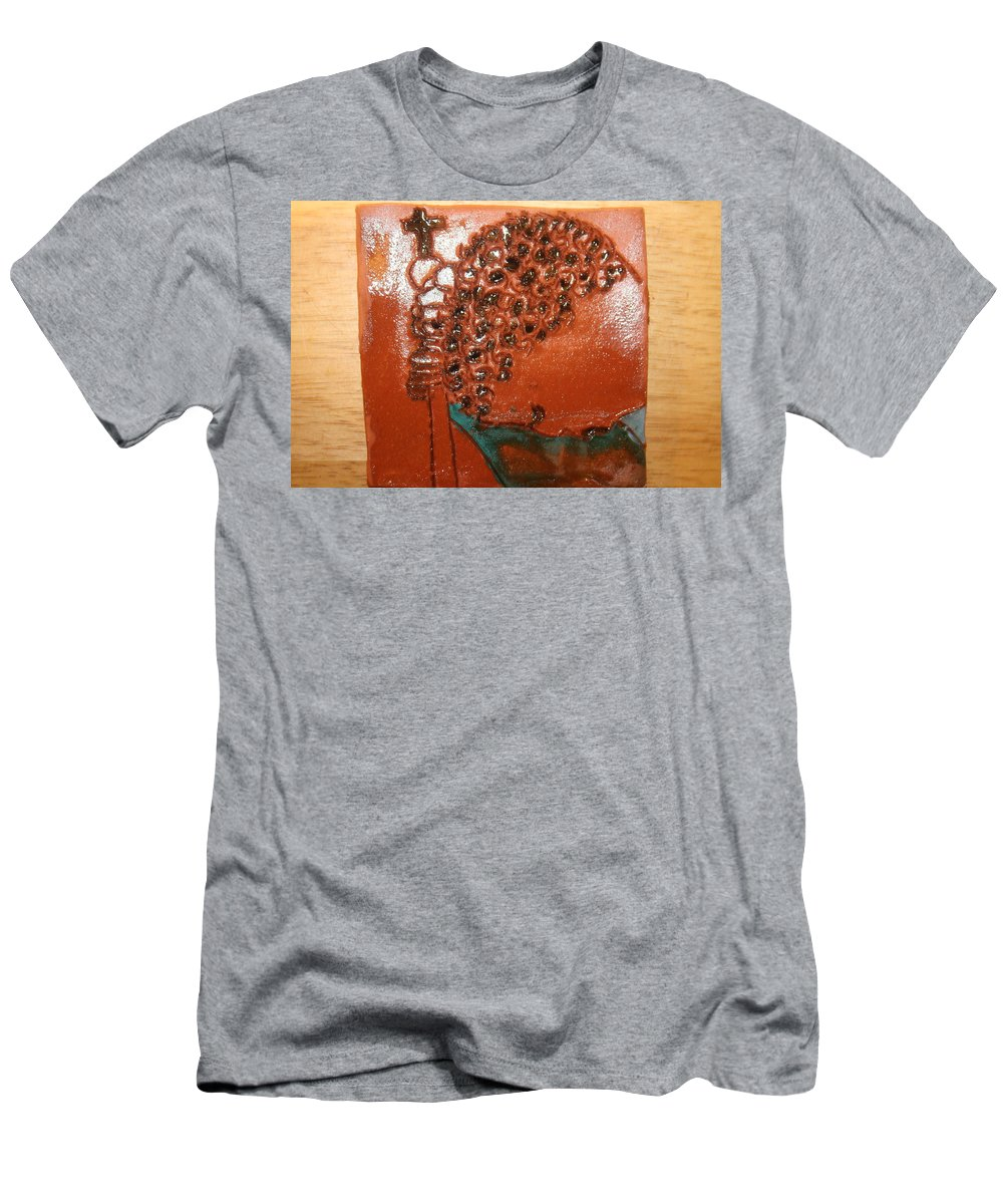 Jesus Men's T-Shirt (Athletic Fit) featuring the ceramic art Prayer 38 - Tile by Gloria Ssali