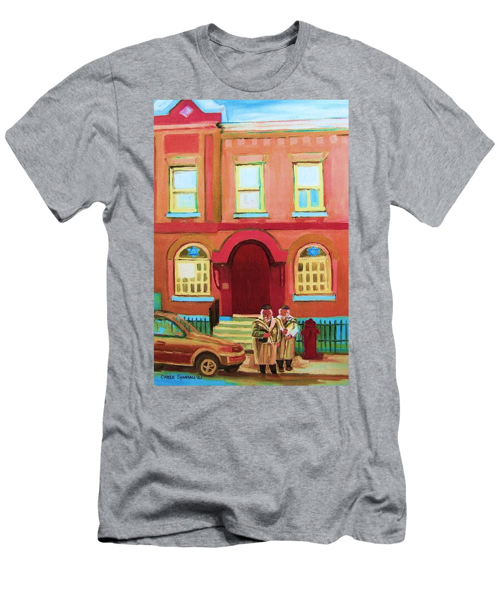 Bagg Street Synagogue Men's T-Shirt (Athletic Fit) featuring the painting Prayer Shawls by Carole Spandau