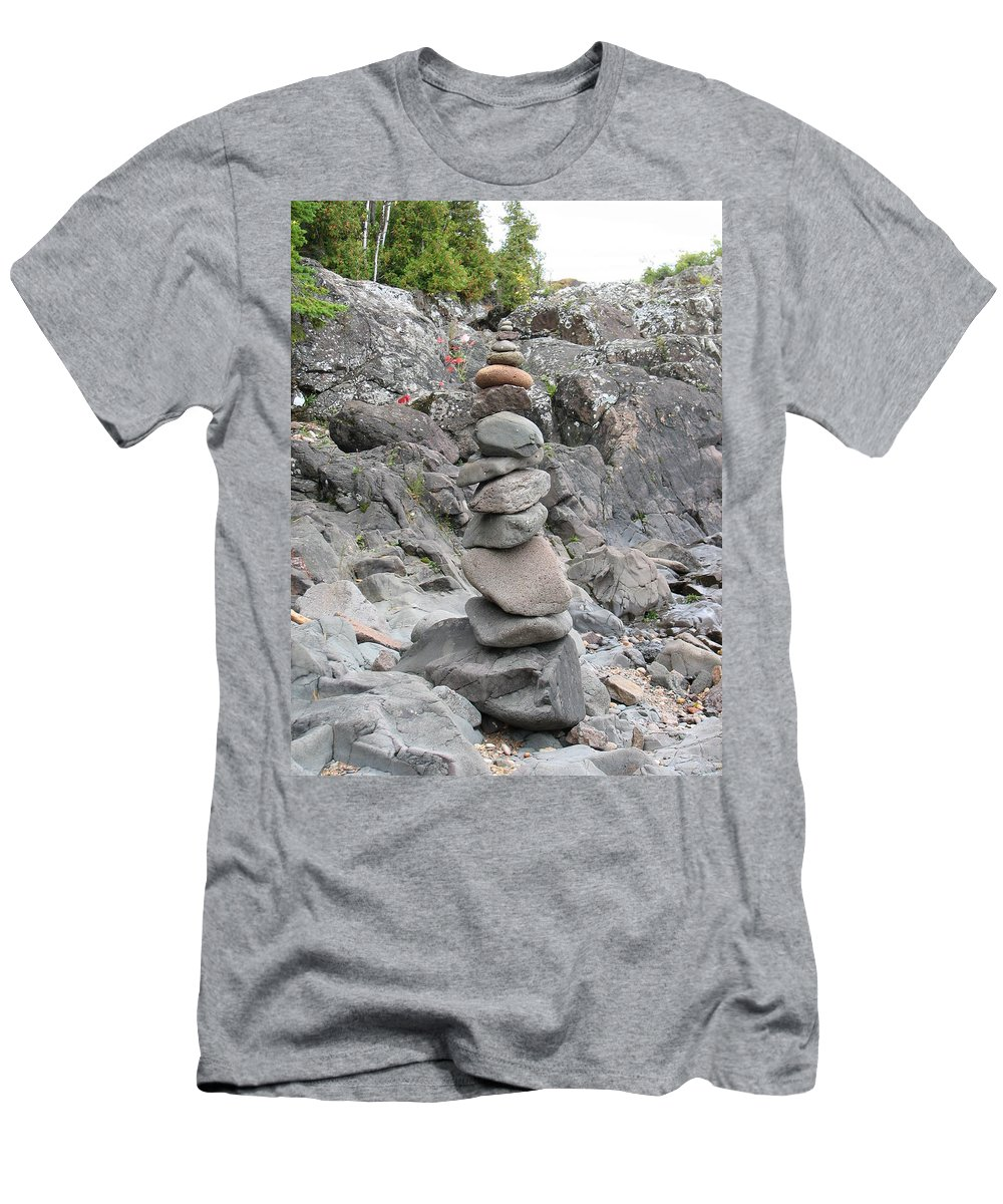 Stones Men's T-Shirt (Athletic Fit) featuring the photograph Precarious by Kelly Mezzapelle