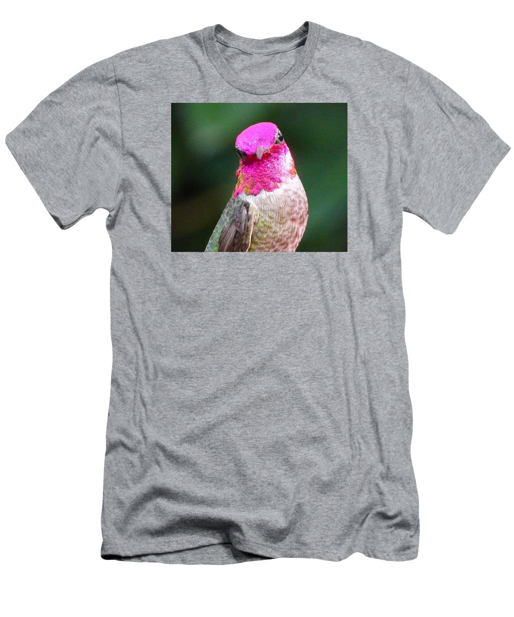 Hummingbird Men's T-Shirt (Athletic Fit) featuring the photograph Pretty In Pink by Marillyn Meadows Bernstein