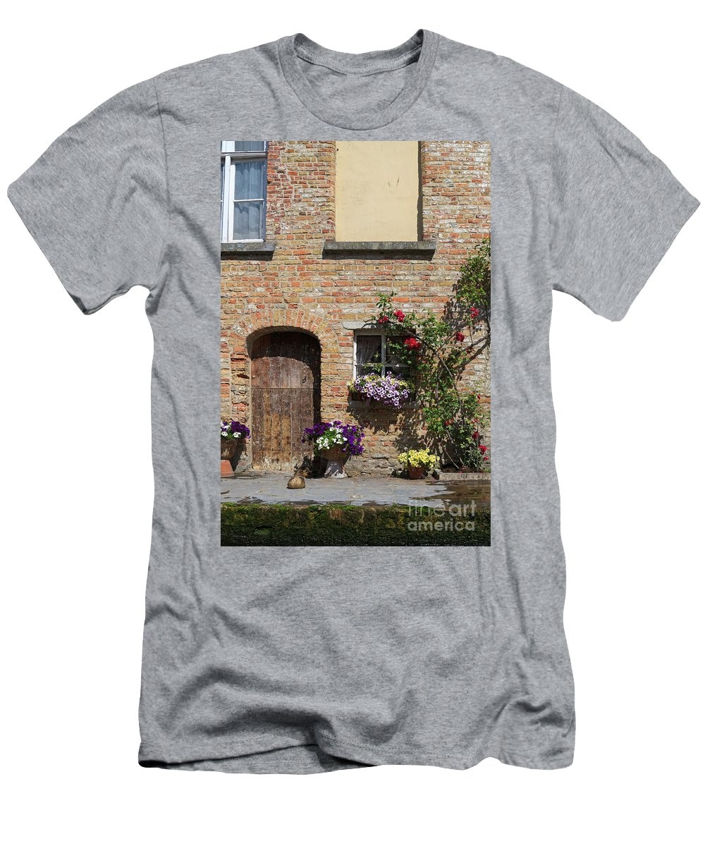 Pretty Men's T-Shirt (Athletic Fit) featuring the photograph Pretty Terrace Beside The Groenerei Canal In Bruges Belgium by Louise Heusinkveld