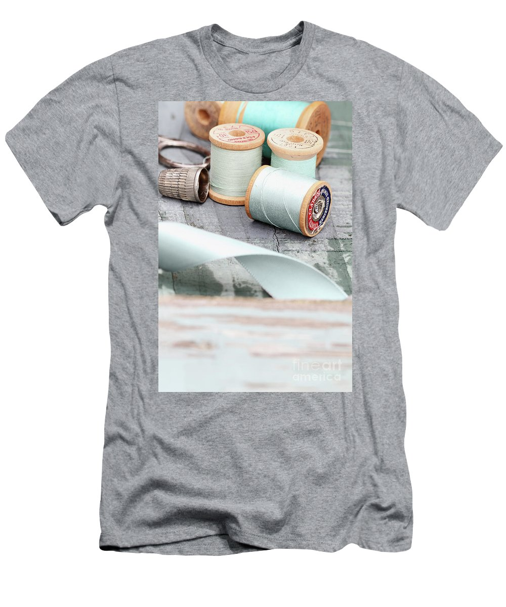 Vintage Men's T-Shirt (Athletic Fit) featuring the photograph Pretty Vintage Sewing Notions by Stephanie Frey