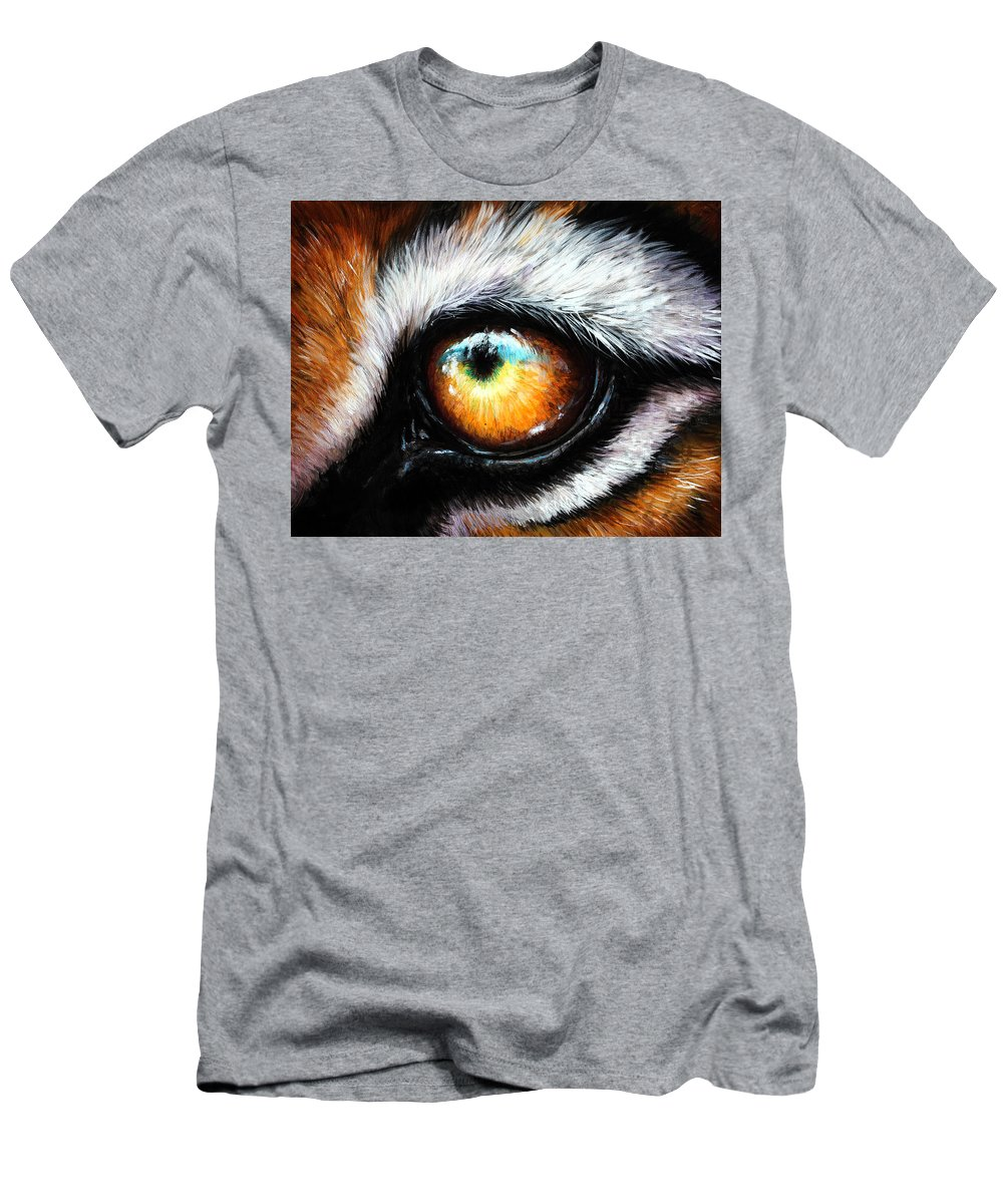 Tiger Eye Men's T-Shirt (Athletic Fit) featuring the painting Primal Instincts by Danielle Trudeau