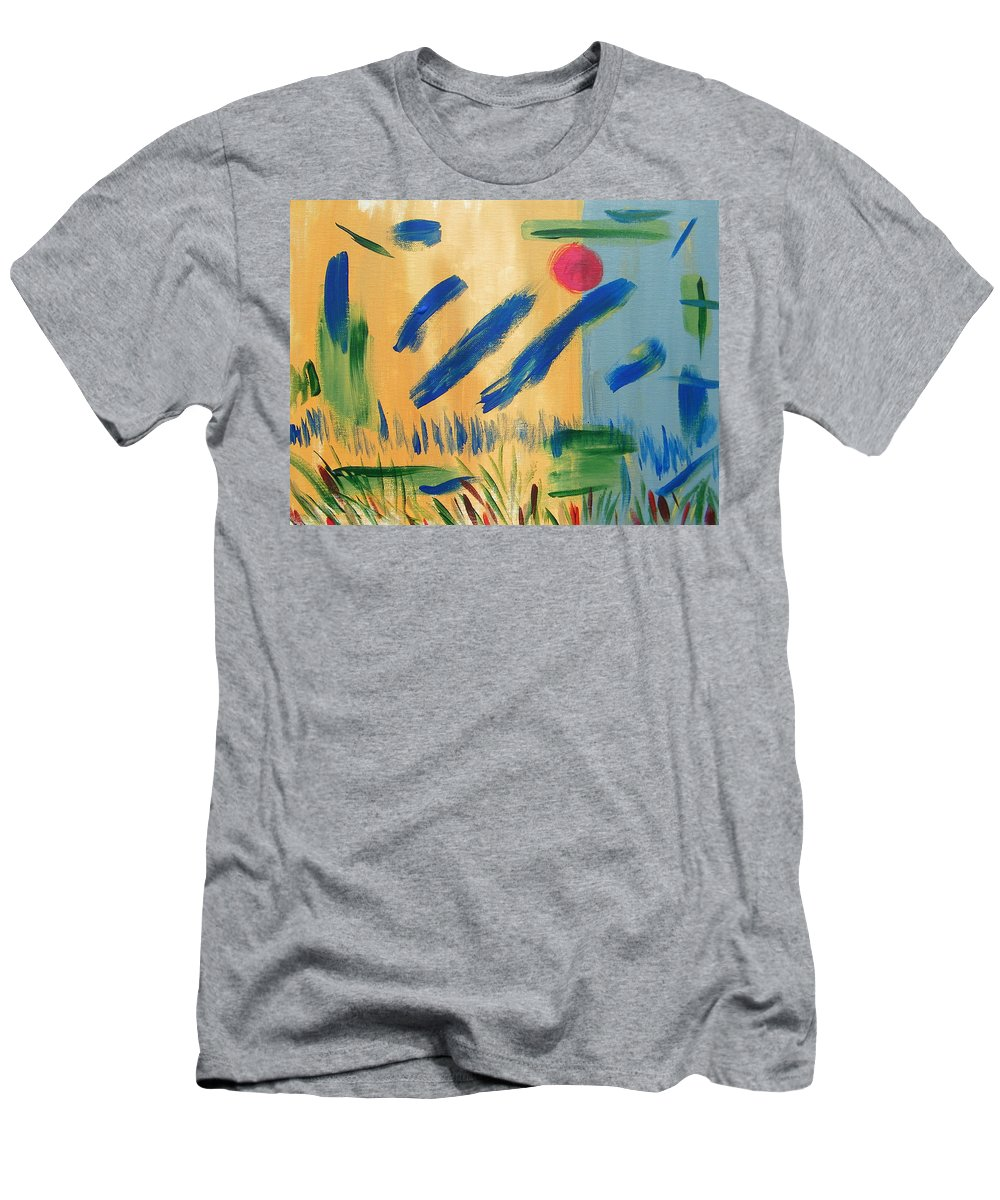 Abstract Men's T-Shirt (Athletic Fit) featuring the painting Primitive Paradise by Lenore Senior
