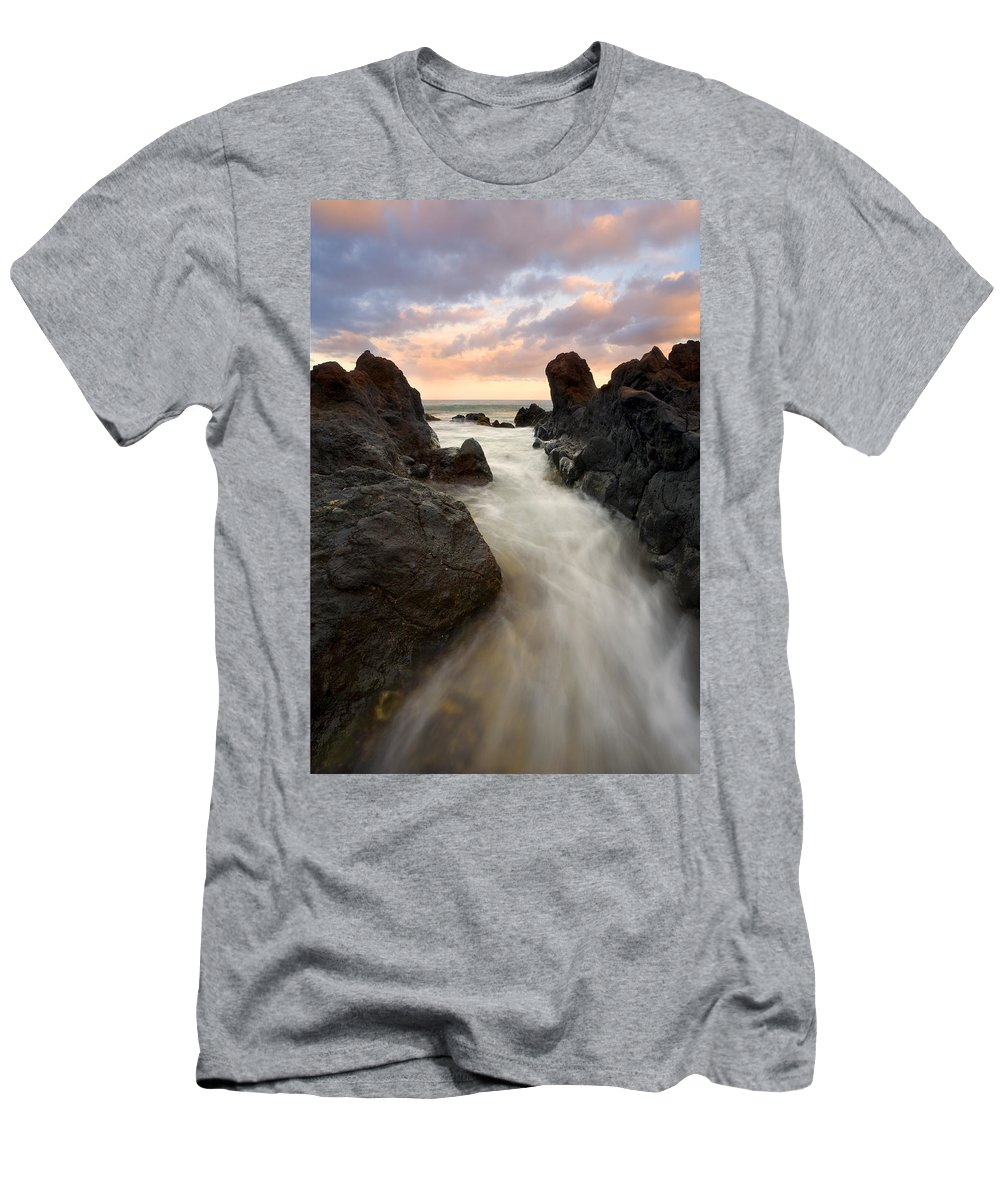 Sunrise Men's T-Shirt (Athletic Fit) featuring the photograph Primordial Tides by Mike Dawson