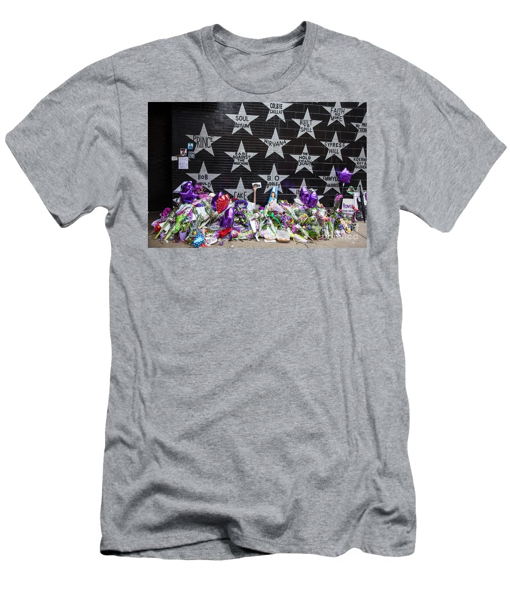 Fine Art Men's T-Shirt (Athletic Fit) featuring the photograph Prince Memorial First Avenue Minneapolis 1 by Wayne Moran
