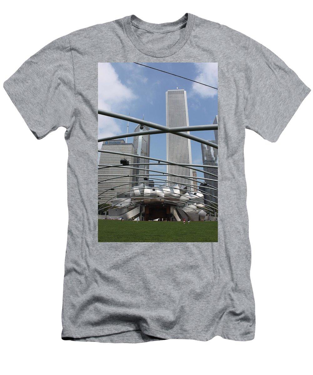 Pritzker Pavilion Men's T-Shirt (Athletic Fit) featuring the photograph Pritzker Pavilion by Lauri Novak
