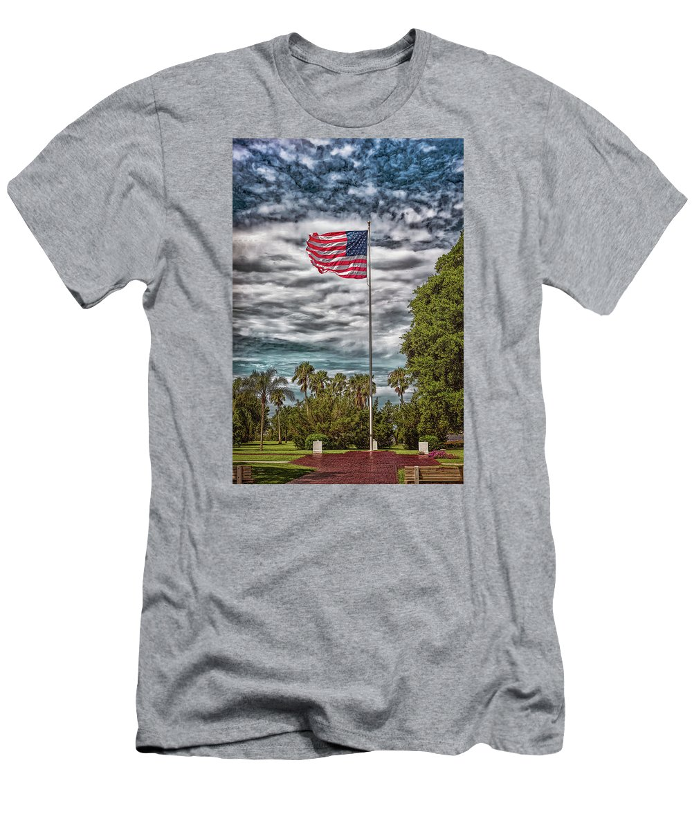 Landscape Men's T-Shirt (Athletic Fit) featuring the photograph Proudly Waving by John M Bailey