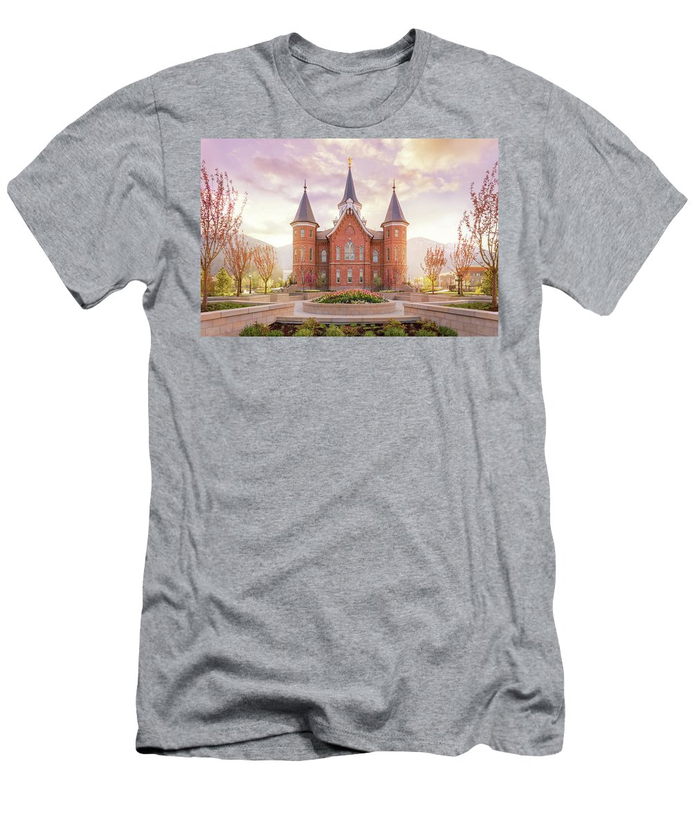 Provo City Center Utah Temple T-Shirt featuring the photograph Provo City Center Temple Dawn by Tausha Schumann