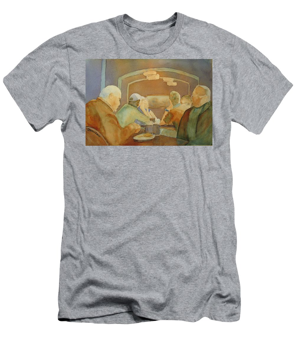 Men Men's T-Shirt (Athletic Fit) featuring the painting Pub Talk II by Jenny Armitage