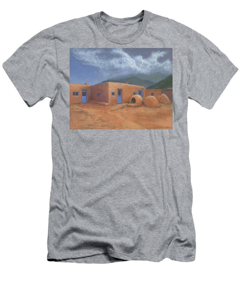Taos Men's T-Shirt (Athletic Fit) featuring the painting Puertas Azul by Jerry McElroy